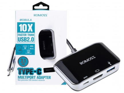 Adapter HUB Romoss CH04CIA USB-C Multiport (HDMI 4K, USB-A 3.0, USB-C)