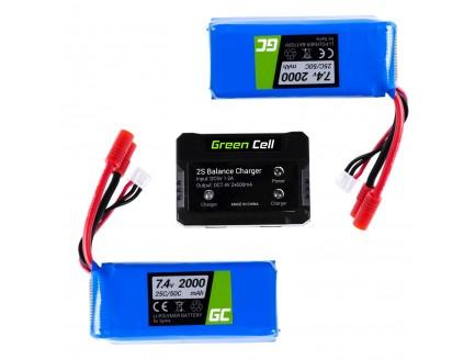 Zestaw 2 Baterie Green Cell do Syma X8C X8G X8HC X8HG X8HW X8W 7.4V 2000mAh + Ładowarka