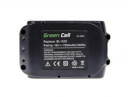 Bateria Akumulator Green Cell do kosiarki Makita DLM380Z DLM380RT DLM380RM DLM380RF DLM431RF DLM431Z DLM431PT2 18V 7,5Ah