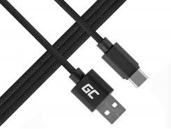 Kabel Przewód Green Cell USB-C - USB Nylonowy 100cm z obsługą szybkiego ładowania