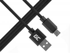 Kabel Przewód Green Cell Micro USB - USB Nylonowy 100cm z obsługą szybkiego ładowania