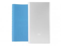 Zestaw: Srebrny Power Bank Xiaomi Mi 2 10000mAh i Silikonowe Etui