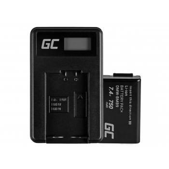 Bateria DMW-BMB9 (Half-Decoded) i Ładowarka DE-A83, DE-A84 Green Cell ® do Panasonic DMC-FZ70, DMC-FZ60, DMC-FZ100 7.4V 750mAh