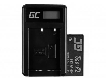Bateria NP-W126 i Ładowarka BC-W126 Green Cell ® do Fujifilm FinePix HS30EXR, HS33EXR, HS50EXR, X-A1, X-A3, X-E1 7.4V 950mAh
