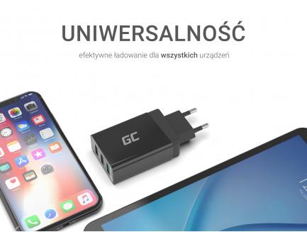 Uniwersalna ładowarka sieciowa Green Cell z funkcją szybkiego ładowania, 3 porty USB, QC 3.0