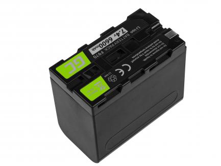 Bateria Green Cell ® NP-F330 / NP-F530 / NP-F970 do Sony DCR-VX2100 HDR-AX2000 HVR-HD1000U HDR-FX1000 HDR-FX1 7.4V 6600mAh