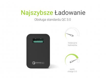 Uniwersalna ładowarka sieciowa USB Green Cell z funkcją szybkiego ładowania QC 3.0