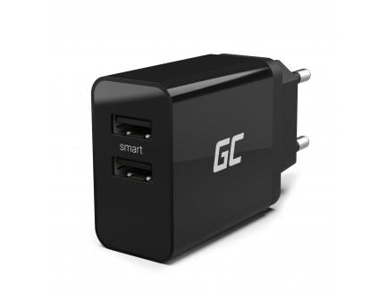 Uniwersalna ładowarka sieciowa Green Cell z funkcją szybkiego ładowania, 2 porty USB