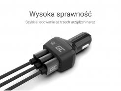 Green USBx3: 5V/2.4A x2 + QC 3.0 (3.6-6.5V/3A, 6.5-9V/2A,9-12V/1.5A )