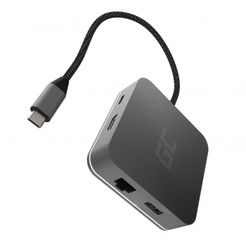 Adapter, Przejściówka, Green Cell GC HUB2 USB-C 6w1 (USB 3.0 HDMI Ethernet USB-C) do Apple MacBook, Dell XPS i innych