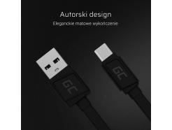 Kabel Przewód GCmatte USB-C Płaski 25 cm z obsługą szybkiego ładowania