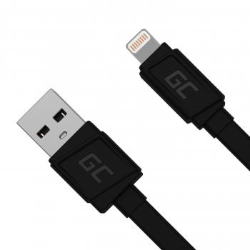 Kabel Przewód GCmatte Lightning Płaski 25 cm z obsługą szybkiego ładowania Apple 2.4A
