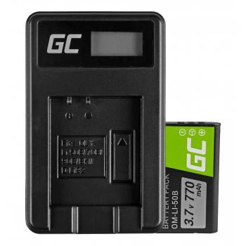 Bateria Li-50B i Ładowarka Li-50C Green Cell ® do Olympus SZ-15, SZ-16, Tough 6000, 8000, TG-820, TG-830, TG-850 3.7V 770mAh