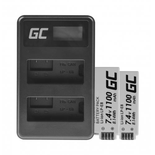 2x Bateria LP-E8 i Podwójna ładowarka LC-E8 Green Cell ® do Canon Rebel T2i, T5i, EOS 600D, 550D, 650D, 700D, Kiss X5, X4, X6