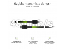 Kabel Przewód Green Cell Power Stream USB-C - Lightning 100 cm ze wsparciem Power Delivery (Apple MFi Certified)