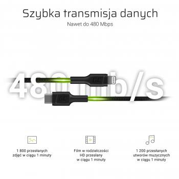 Kabel Przewód Green Cell Power Stream USB-C - Lightning 100 cm ze wsparciem Power Delivery (Apple MFi Certified)