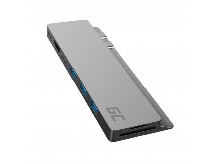 "Adapter HUB Green Cell GC Connect60 8w1 (Thunderbolt 3, USB-C, HDMI, 3x USB 3.0, SD, microSD) do MacBook Pro 13""/15"" 2016 - 2020"