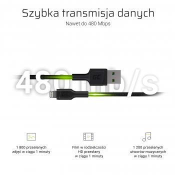 Kabel Przewód Green Cell GC PowerStream USB-A - Lightning 200 cm Apple MFi Certified