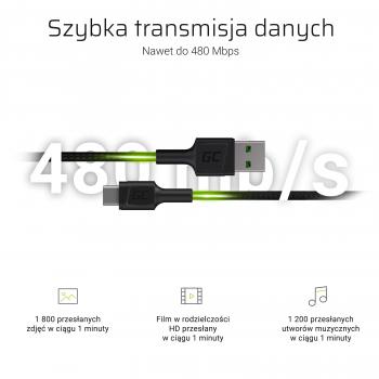 Kabel Przewód Green Cell GC PowerStream USB-A - USB-C 200 cm szybkie ładowanie Ultra Charge, QC 3.0