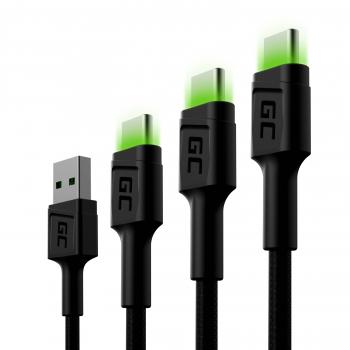Zestaw 3x Kabel Green Cell GC Ray USB-C 30cm, 120cm, 200cm z zielonym podświetleniem LED, szybkie ładowanie Ultra Charge, QC 3.0