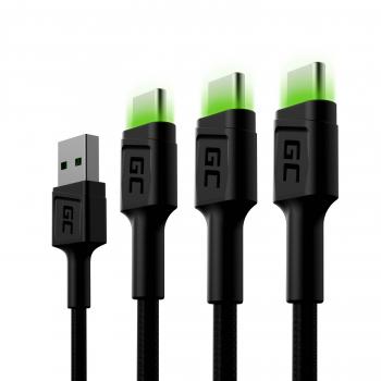 Zestaw 3x Kabel Green Cell GC Ray USB - USB-C 120cm, zielony LED, szybkie ładowanie Ultra Charge, QC 3.0