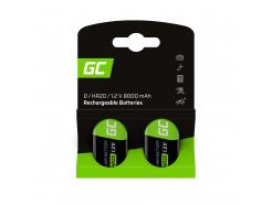 Baterie Akumulatorki 2x D R20 HR20 Ni-MH 1.2V 8000mAh Green Cell