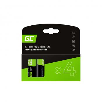 Baterie Akumulatorki 4x D R20 HR20 Ni-MH 1.2V 8000mAh Green Cell
