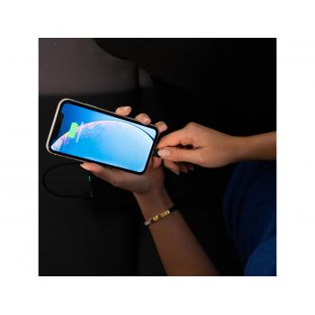 Zestaw 3x Kabel Green Cell GC Ray Lightning 30cm, 120cm, 200cm z białym podświetleniem LED, szybkie ładowanie Apple 2.4A