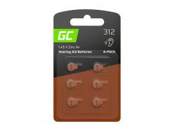 6x Bateria Green Cell do aparatów słuchowych Typ 312 P312 PR41 ZL3 ZincAir