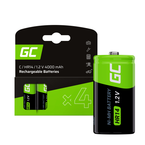 Baterie Akumulatorki 4x C R14 HR14 Ni-MH 1.2V 4000mAh Green Cell