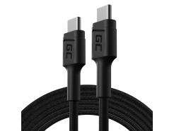 Kabel Przewód Green Cell GC PowerStream USB-C - USB-C 200cm z obsługą Power Delivery (60W), 480 Mbps, Ultra Charge, QC 3.0