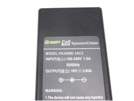 Zasilacz Ładowarka Green Cell PRO do Toshiba Satellite C660 C850 L300 L650 Equium A200 L300 Acer TravelMate 650 655 19V 3.95A
