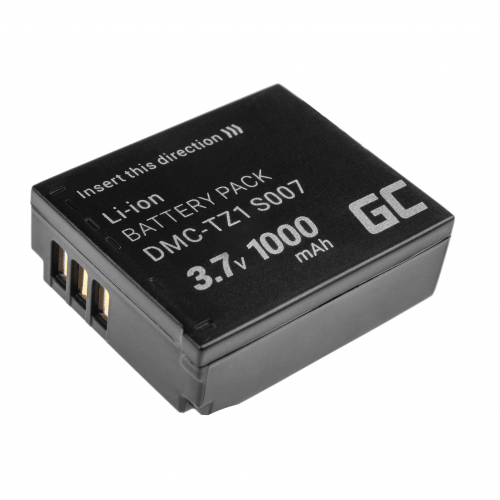 Akumulator Bateria Green Cell ® CGA-S007E CGA-S007 do Panasonic Lumix DMC TZ1 TZ2 TZ2GK TZ3 TZ3A TZ3K TZ4 TZ5 TZ11 3.7V 1000mAh