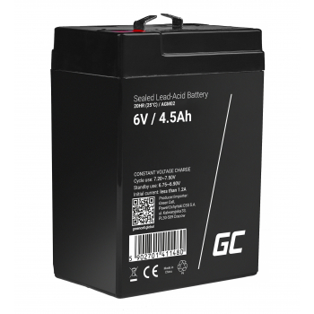Akumulator bezobsługowy AGM VRLA Green Cell 6V 4.5Ah do systemów alarmowych i zabawek