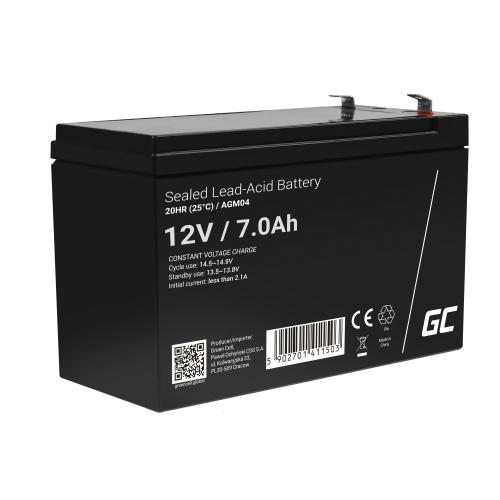 Akumulator bezobsługowy AGM VRLA Green Cell 12V 7Ah do zasilaczy awaryjnych UPS