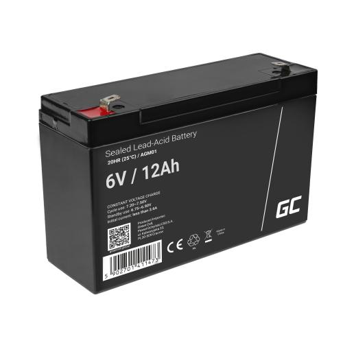 Green Cell® AGM VRLA 6V 12Ah bezobsługowy akumulator do systemu alarmowego kasy fiskalnej zabawki