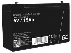 Akumulator bezobsługowy AGM VRLA Green Cell 6V 15Ah do systemów alarmowych i zabawek