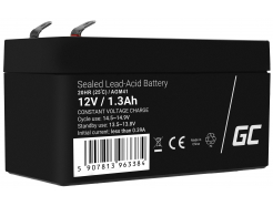 Akumulator bezobsługowy AGM VRLA Green Cell 12V 1.3Ah do systemów alarmowych i zabawek
