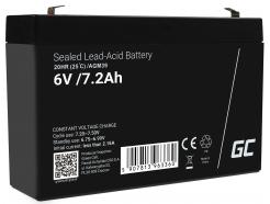 Akumulator bezobsługowy AGM VRLA Green Cell 6V 7.2Ah do systemów alarmowych i zabawek