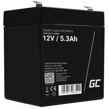 Akumulator bezobsługowy AGM VRLA Green Cell 12V 5.3Ah do systemów alarmowych i zabawek