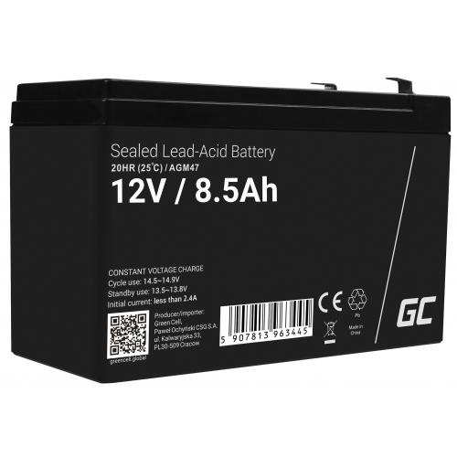 Akumulator bezobsługowy AGM VRLA Green Cell 12V 8.5Ah do systemów alarmowych i zabawek