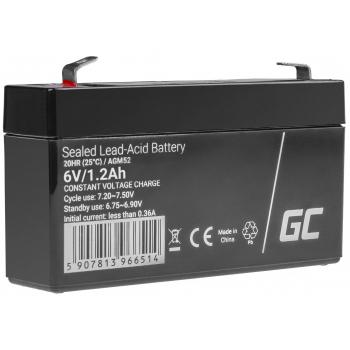 Green Cell AGM VRLA 6V 1.2Ah bezobsługowy akumulator do systemu alarmowego kasy fiskalnej zabawki