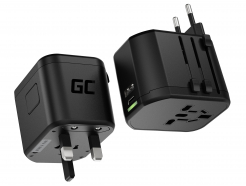 Adapter turystyczny Green Cell GC TripCharge PRO z USB-A Ultra Charge i USB-C Power Delivery 18W (USA / UK / AUS / EU)