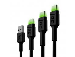 Zestaw 3x Kabel Green Cell GC Ray USB - USB-C 30cm, 120cm, 200cm - Oferta Grupa Wszystko oBateriach