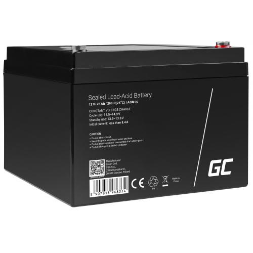 Green Cell® AGM VRLA 12V 28 Ah bezobsługowy akumulator do łodzi skutera zabawki wózka kampera