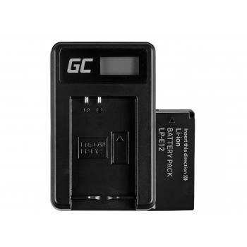 Bateria LP-E12 i Ładowarka LC-E12 Green Cell ® do Canon EOS M100, EOS100D, EOS-M, EOS M2, EOS M10, Rebel SL1 7.4V 820mAh
