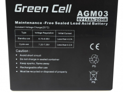 Akumulator AGM Green Cell 6V 14Ah