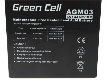 Akumulator AGM Green Cell 6V 14Ah
