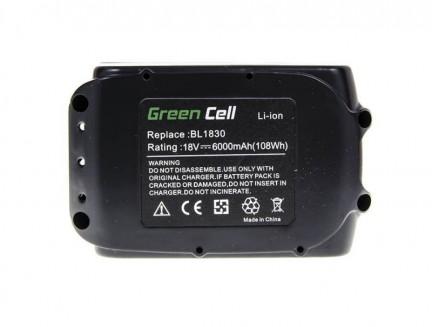 Bateria Akumulator Green Cell do Makita BL1830 BL1860 194204-5 18V 6,0 Ah