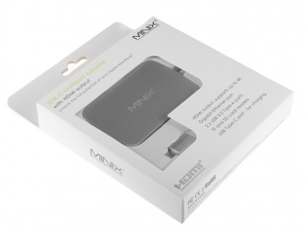 Minix NEO C Adapter USB-C Multiport (Port USB-C, HDMI, 2xUSB 3.0, Ethernet, Czytnik Kart SD i TF)